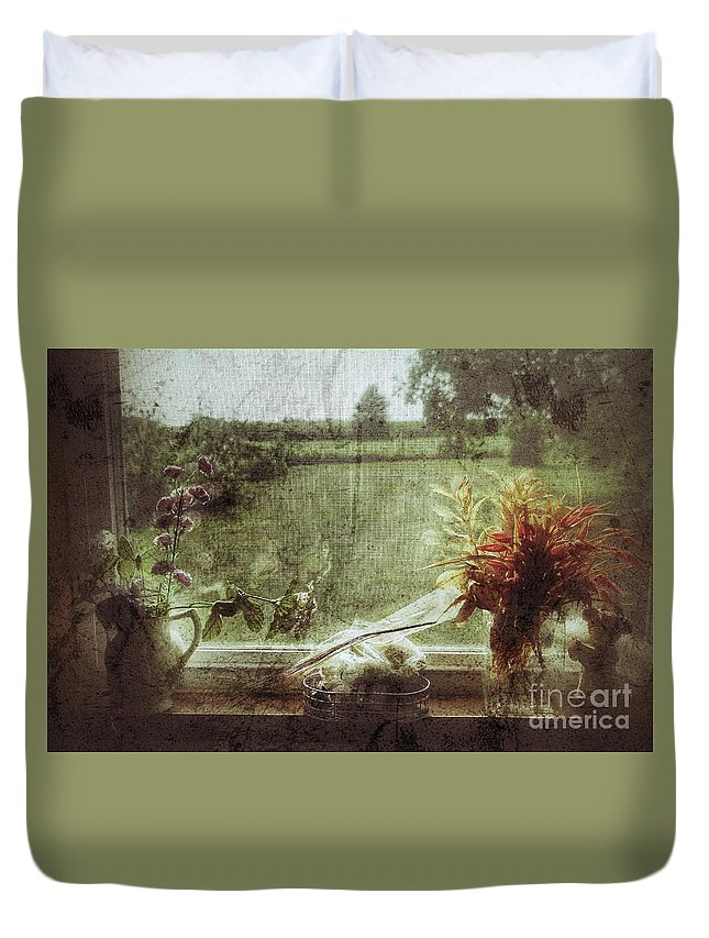 Floral Duvet Cover featuring the photograph Flowers In A Window by John Myers