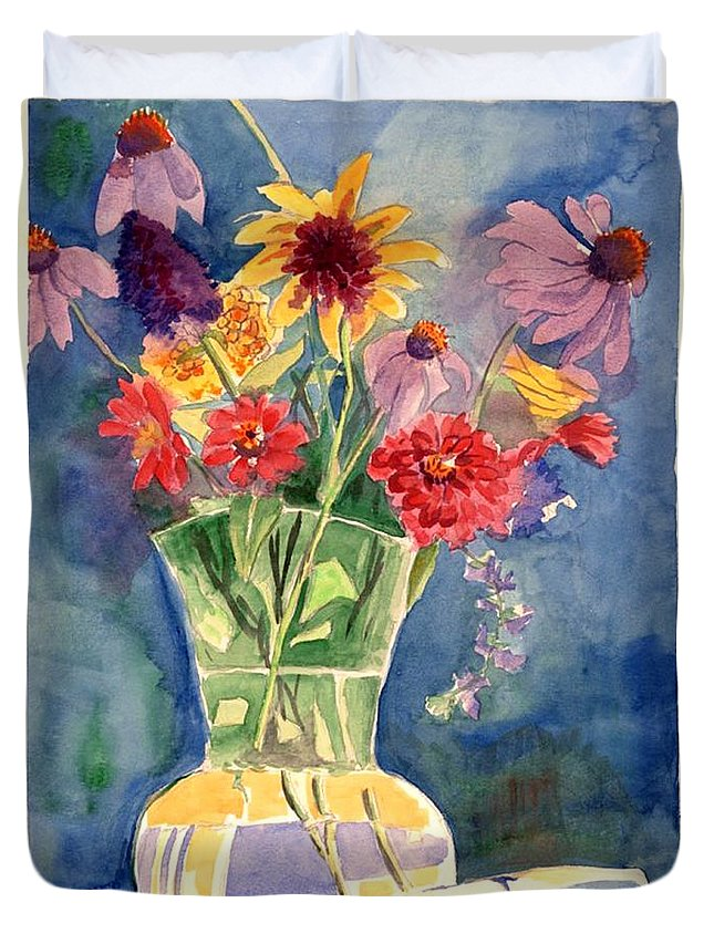 Flowers In Glass Vase Duvet Cover featuring the painting Flowers In Glass Vase by Judy Swerlick
