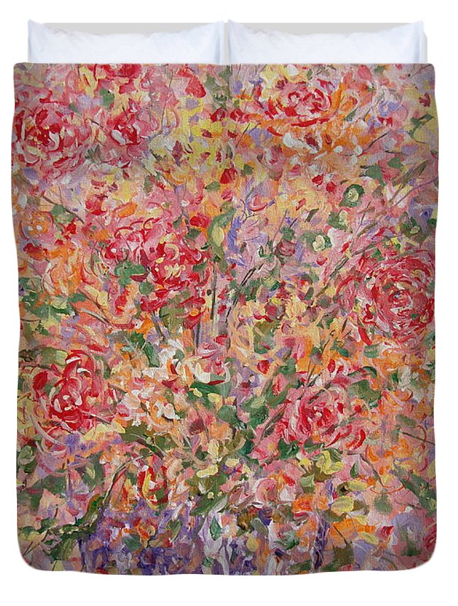 Flowers Duvet Cover featuring the painting Flowers In Purple Vase. by Leonard Holland