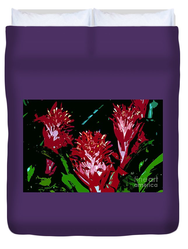Red Duvet Cover featuring the painting Flowers In Red by David Lee Thompson