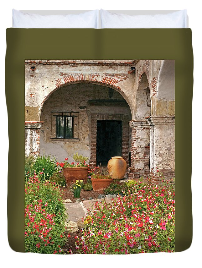 California Missions Duvet Cover featuring the photograph Flowers In The South Wing, Mission San Juan Capistrano, California by Denise Strahm
