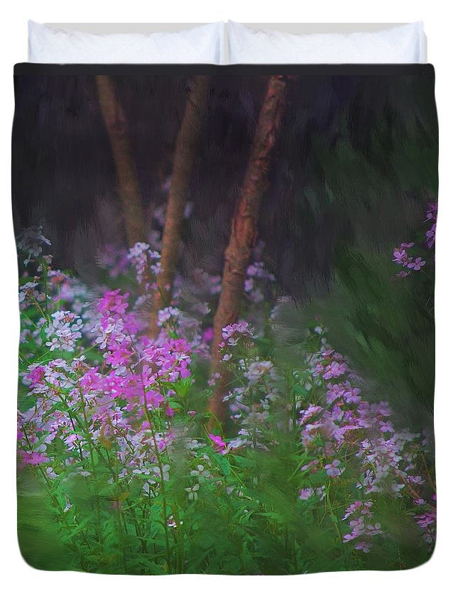 Landscape Duvet Cover featuring the painting Flowers In The Woods by David Lane