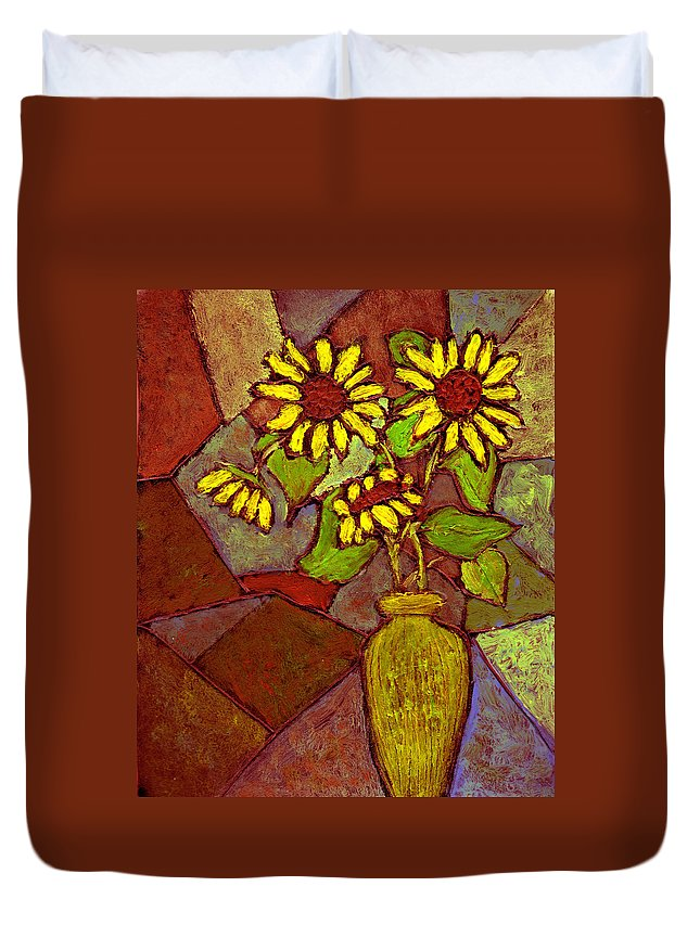 Sunflowers Duvet Cover featuring the painting Flowers In Vase Altered by Wayne Potrafka