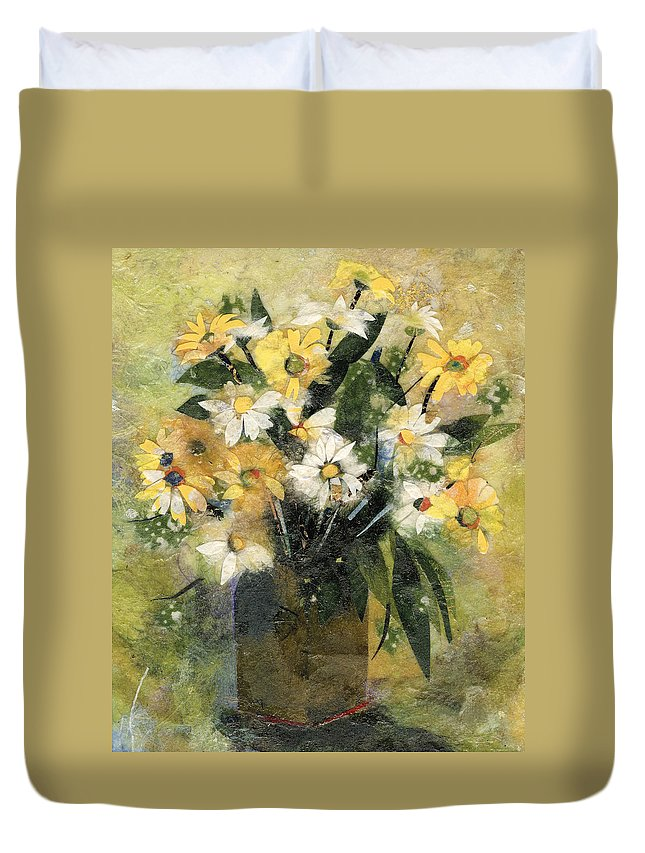 Limited Edition Prints Duvet Cover featuring the painting Flowers In White And Yellow by Nira Schwartz