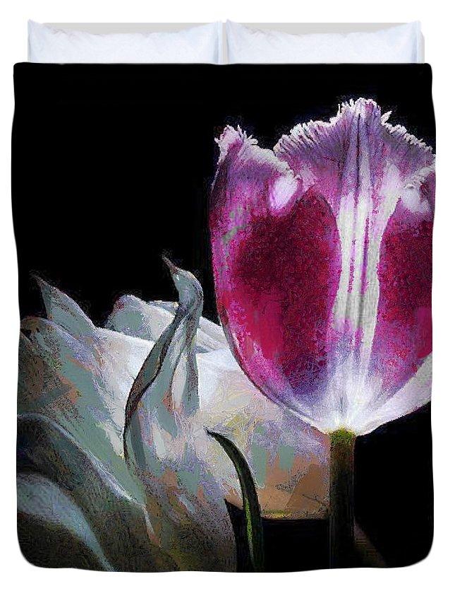 Flowers Lit Duvet Cover featuring the digital art Flowers Lit by Catherine Lott