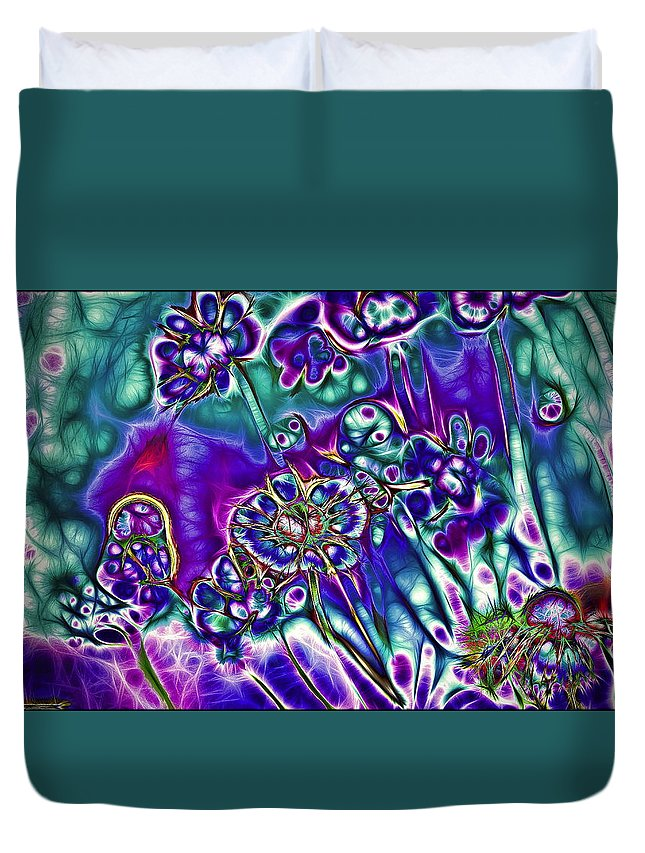 Abstract Duvet Cover featuring the photograph Flowers Of The Distant Planet by Alexey Bazhan