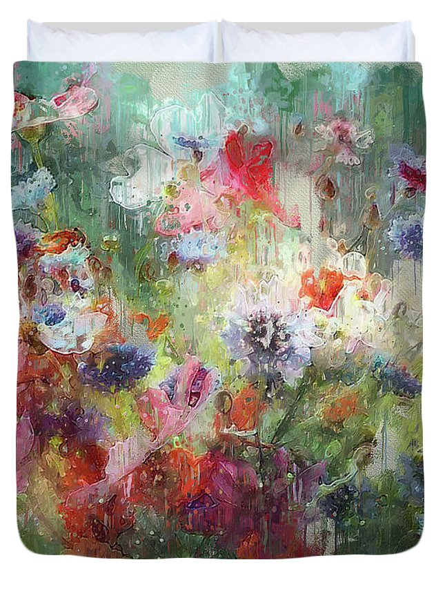 Flower Duvet Cover featuring the digital art Flowers On Canvas by Yury Malkov