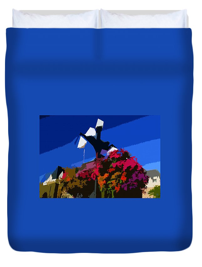 Flowers Duvet Cover featuring the painting Flowers On Lamppost by David Lee Thompson