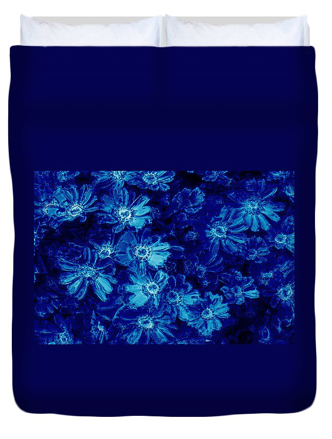 Tile Duvet Cover featuring the photograph Flowers On Tiles by Phill Petrovic