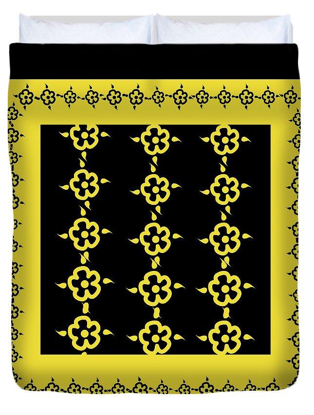 Pattern Duvet Cover featuring the digital art Flowers Pattern by Monika Lemeshonok