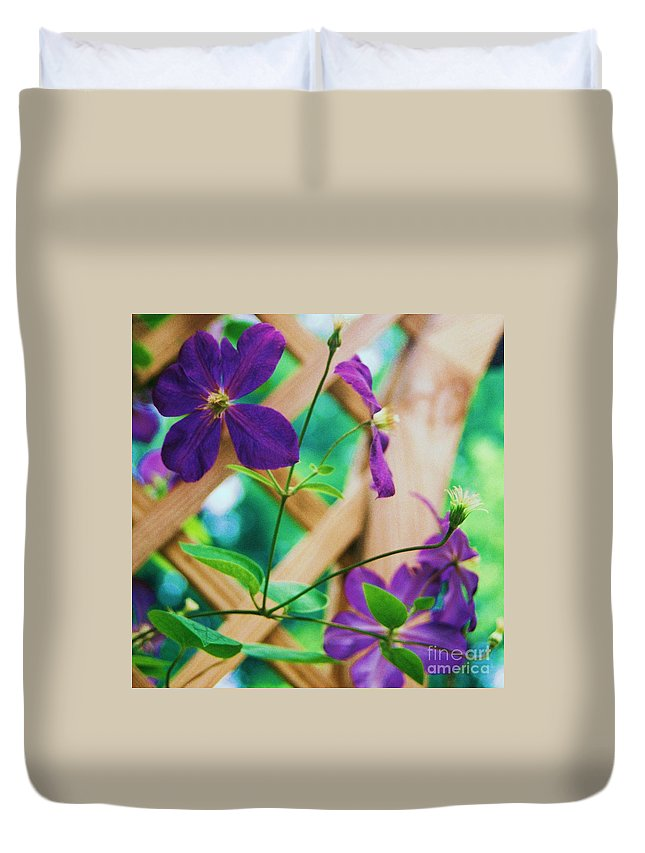 Floral Duvet Cover featuring the painting Flowers Purple by Eric Schiabor