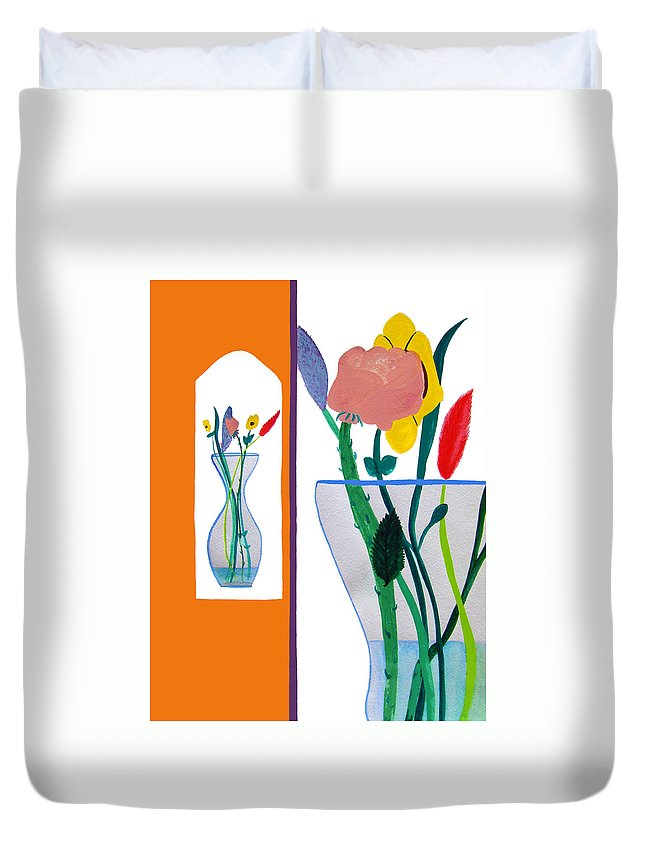 Art Duvet Cover featuring the painting Flowers Small And Big by Lee Serenethos