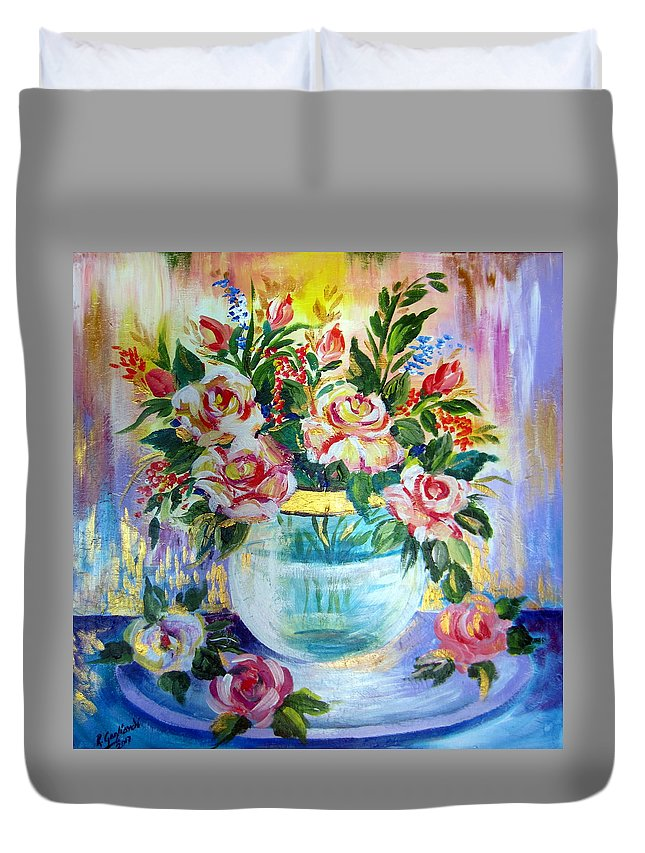 Flowers Duvet Cover featuring the painting Flowers Still Life by Roberto Gagliardi