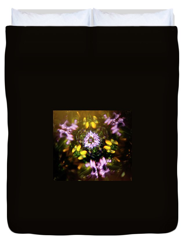 Flowers Duvet Cover featuring the photograph Flowers Thru Kaleidiscope by Marilyn Hunt