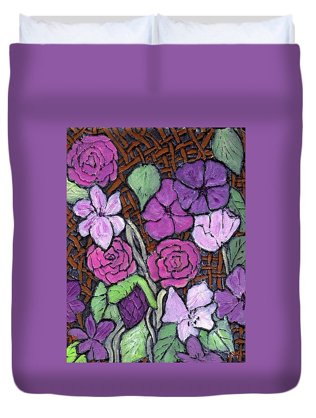 Flowers Duvet Cover featuring the painting Flowers With Basket Weave by Wayne Potrafka