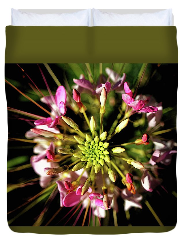 Flower Duvet Cover featuring the photograph Flowerworks by Hubert DESCAMPS
