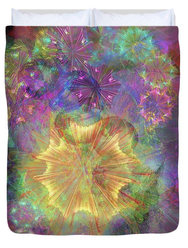 Flowerworks Duvet Cover featuring the digital art Flowerworks by John Beck