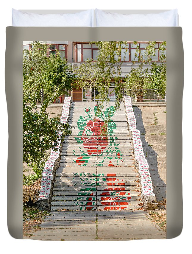 Kiev Duvet Cover featuring the photograph Flowery Stairs by Alain De Maximy