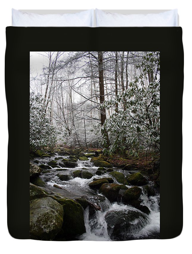 Park Winter Snow White Water Stream Creek Flow River Rock Boulder Tree Green Rush Cold National Duvet Cover featuring the photograph Flowing by Andrei Shliakhau