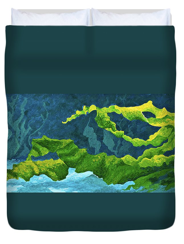 Ocean Duvet Cover featuring the painting Flowing Kelp by Marion Rose