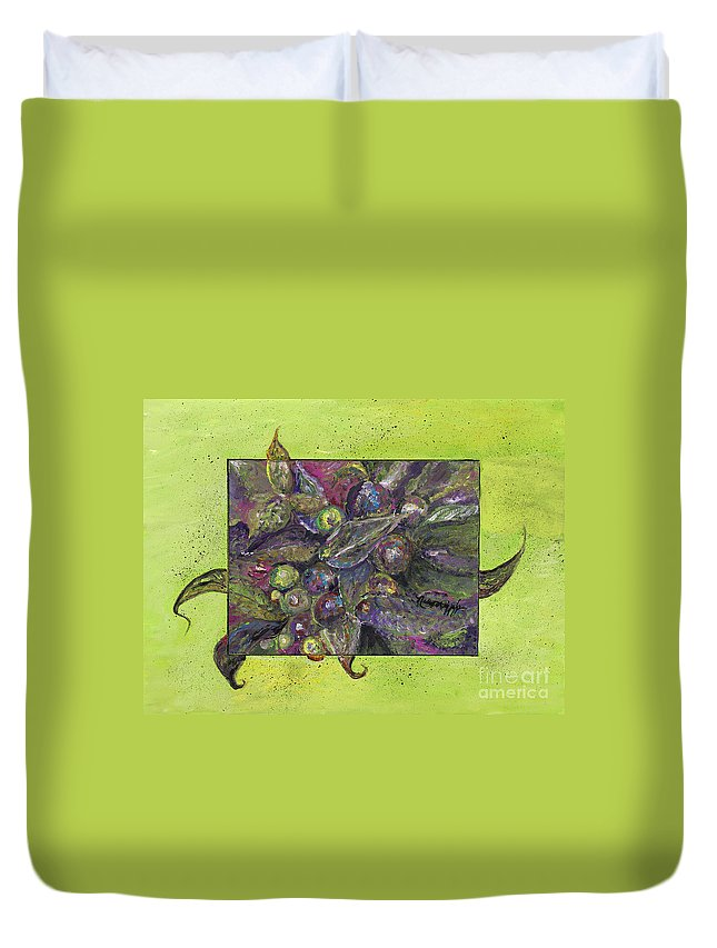 Leaves Duvet Cover featuring the painting Flowing Leaves And Berries by Nadine Rippelmeyer