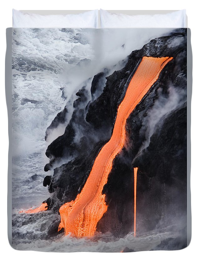 Active Duvet Cover featuring the photograph Flowing Pahoehoe Lava by Ron Dahlquist - Printscapes