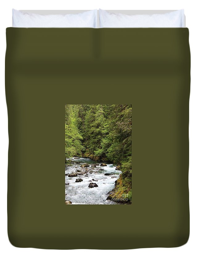 River Images Duvet Cover featuring the photograph Flowing Through The Trees by LKB Art and Photography