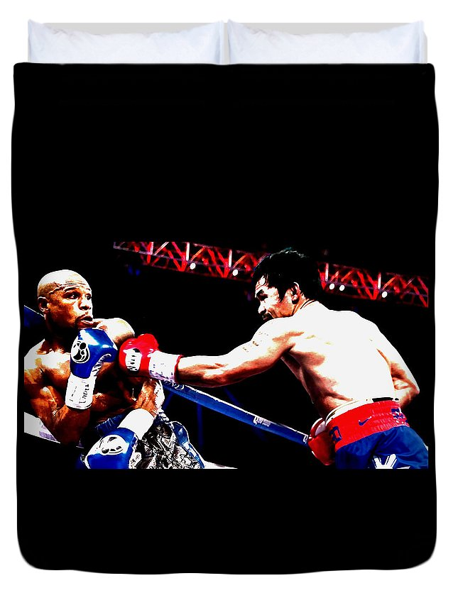 Manny Pacquiao Duvet Cover featuring the mixed media Floyd Mayweather And Manny Pacquiao Going At It by Brian Reaves
