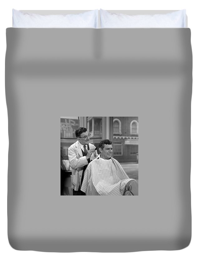 Hollywood Stars Celebrity Duvet Cover featuring the photograph Floyds Barbar Shop Andy Griffith Show by Peter Nowell
