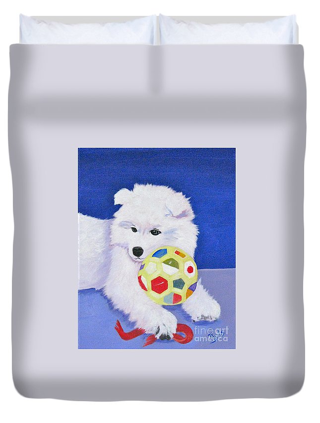 Samoyed Duvet Cover featuring the painting Fluffy's Portrait by Phyllis Kaltenbach