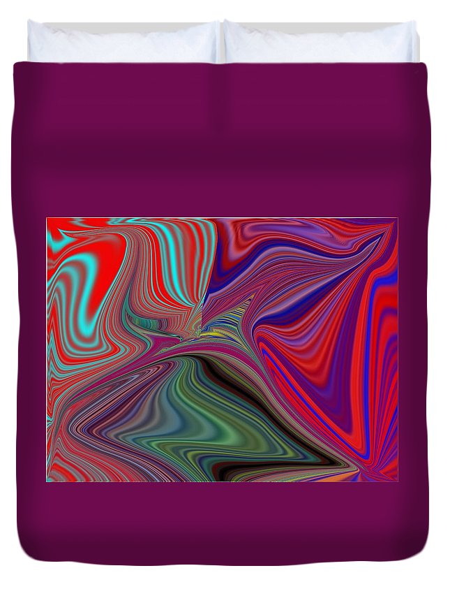 Abstract Duvet Cover featuring the digital art Fluid Motion 5 by Tim Allen