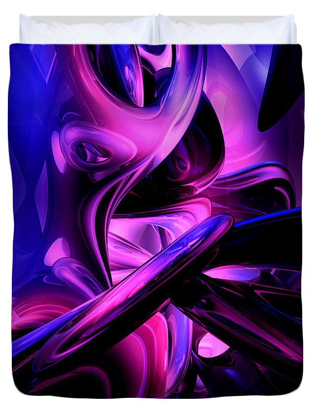 3d Duvet Cover featuring the digital art Fluorescent Passions Abstract by Alexander Butler