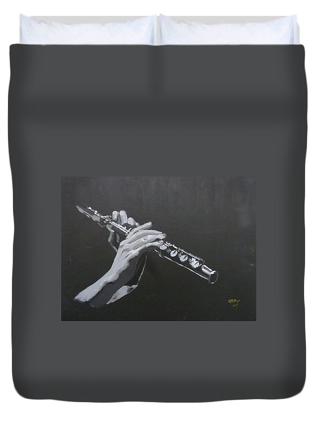 Flute Duvet Cover featuring the painting Flute Hands by Richard Le Page