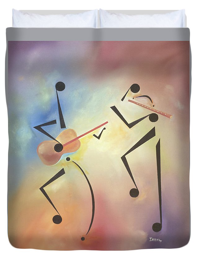 Black Art Duvet Cover featuring the painting Flutina by Ikahl Beckford