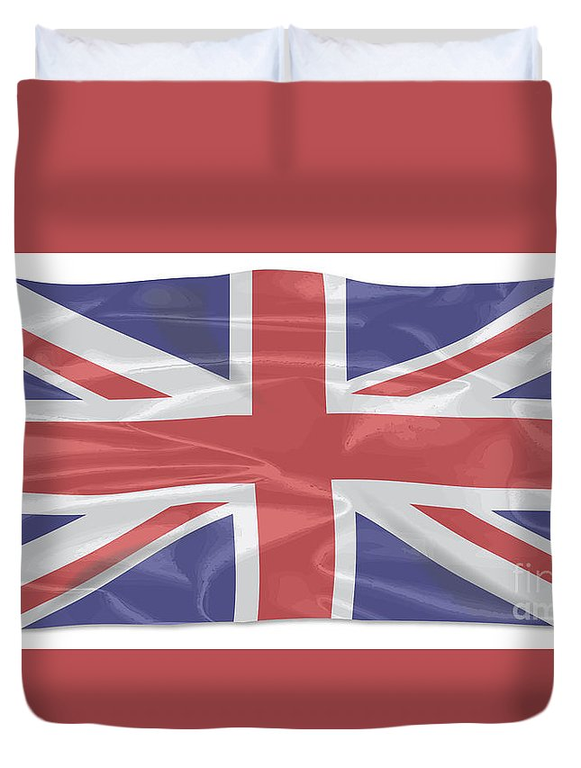 Union Jack Duvet Cover featuring the digital art Fluttering Silk Union Jack by Bigalbaloo Stock