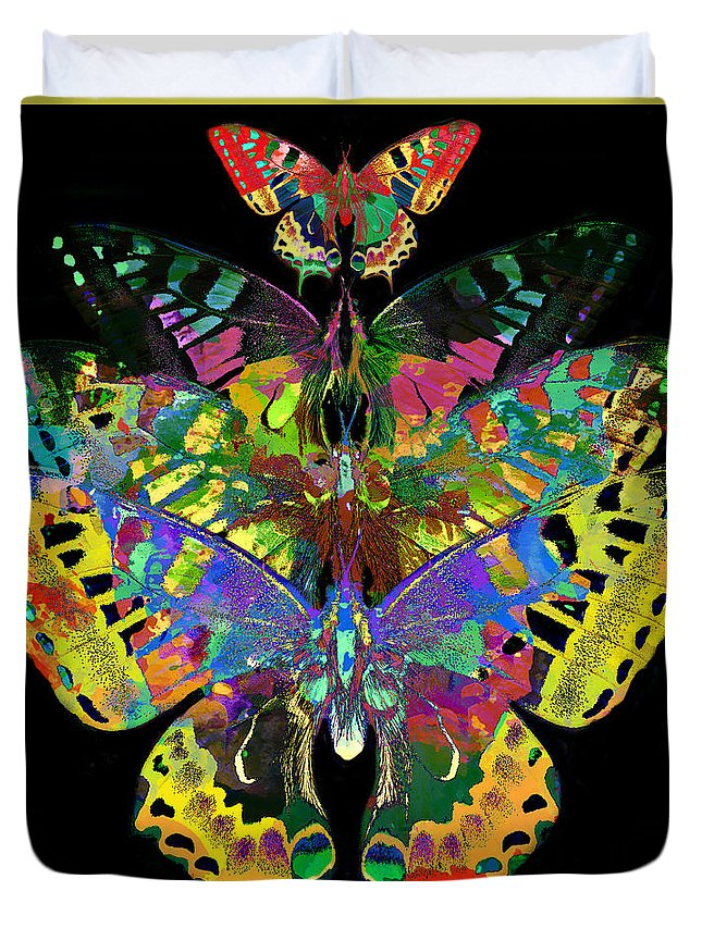 Abstract Duvet Cover featuring the digital art Fly Away 2017 by Kathryn Strick