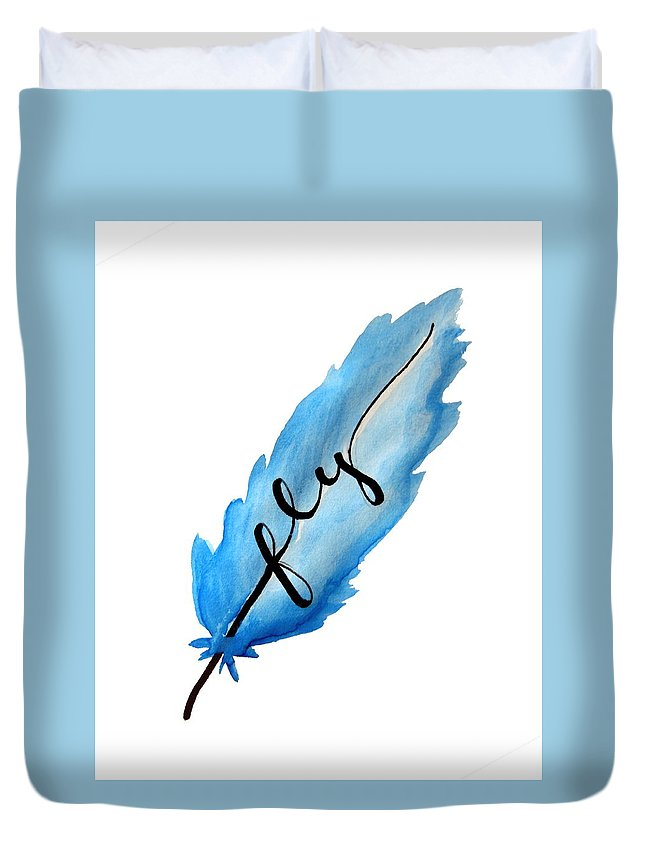 Fly Duvet Cover featuring the painting Fly Blue Feather Vertical by Michelle Eshleman