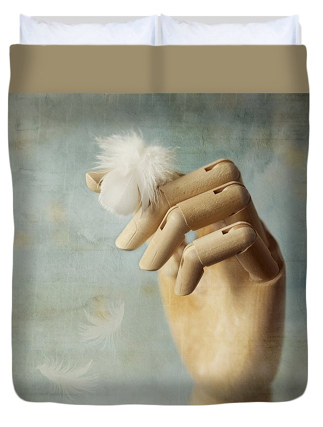 Hand Duvet Cover featuring the photograph Fly Far Away by Amy Weiss