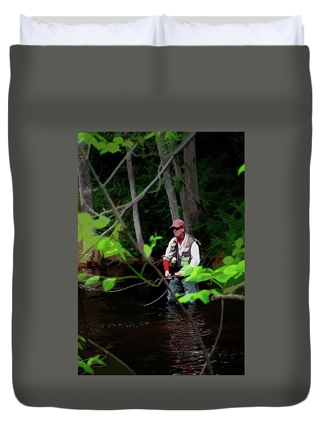 Fly Fishing Duvet Cover featuring the photograph Fly Fisher by Tom Kostes