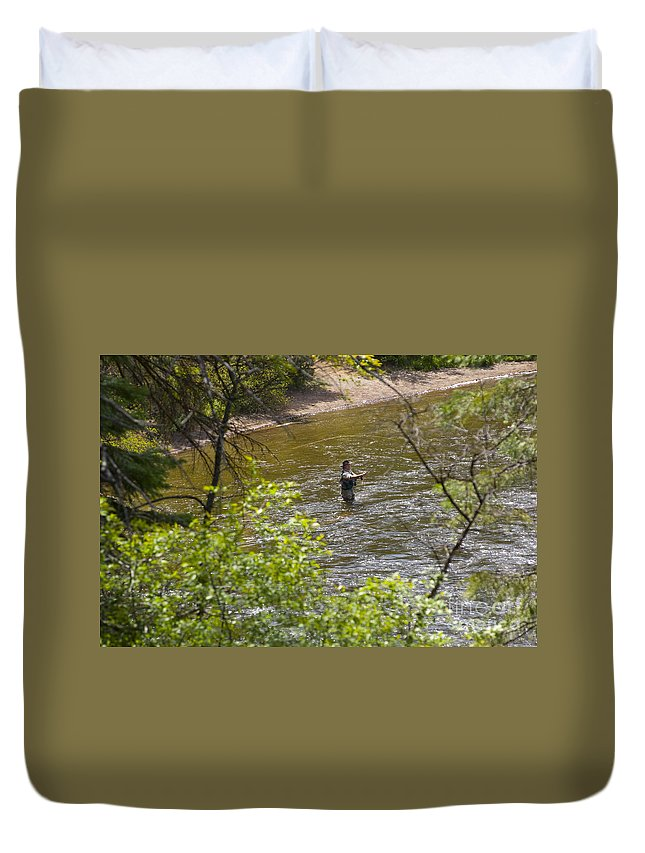 Fishing Duvet Cover featuring the photograph Fly Fishing by Louise Magno