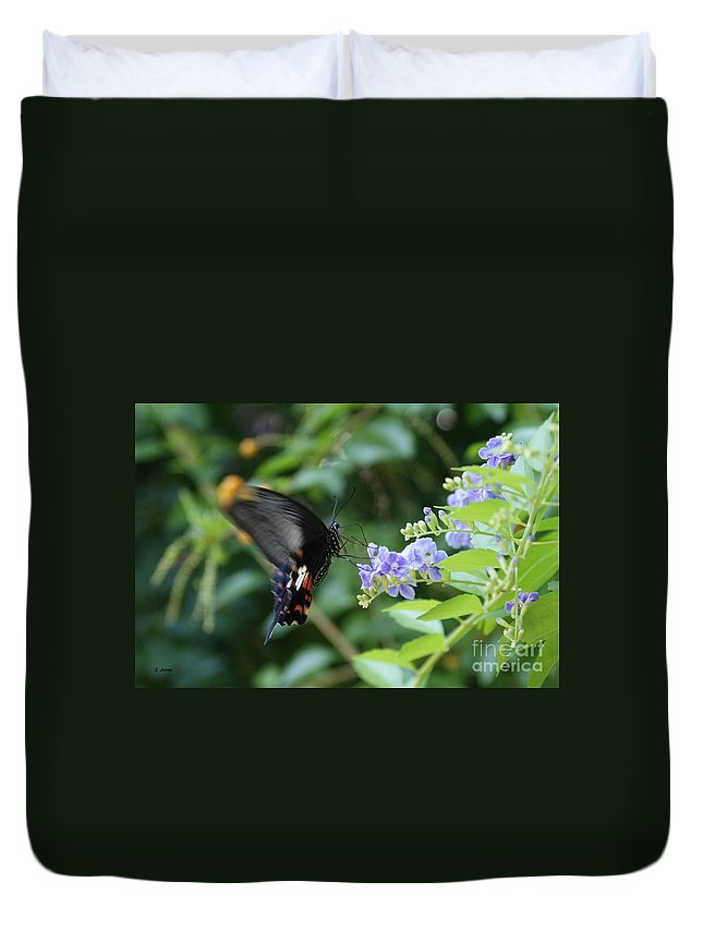 Butterfly Duvet Cover featuring the photograph Fly In Butterfly by Shelley Jones