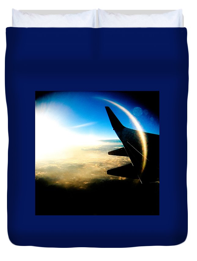Plane Sky Sun Holga Color Photograph Duvet Cover featuring the photograph Fly Like A Dolphin by Olivier De Rycke