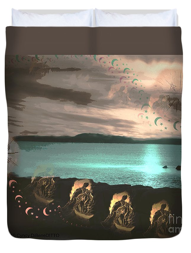Fantasy Duvet Cover featuring the digital art Fly Me High by Cyndy DiBeneDitto