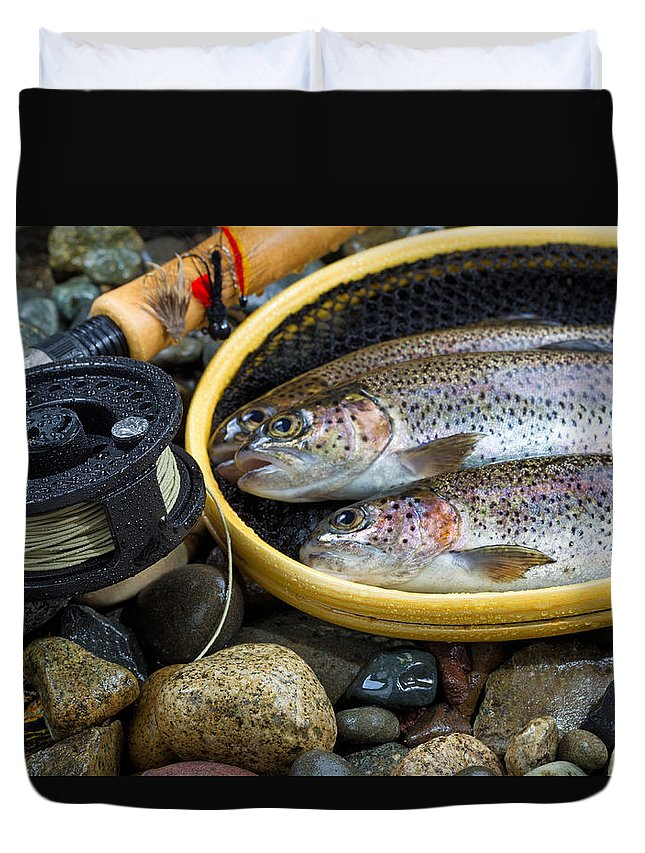 Reel Duvet Cover featuring the photograph Fly Reel And Pole With Trout In Net by Thomas Baker