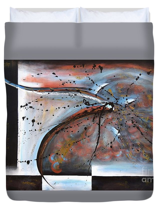 Flying. Original Acrylic Painting On Canvas Duvet Cover featuring the painting Flying by Adrianna Tarsha - McMillan