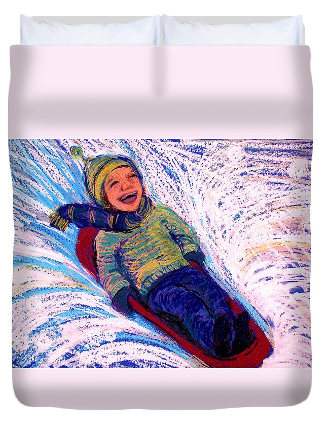 Sledding Duvet Cover featuring the pastel Flying by Art Nomad Sandra Hansen