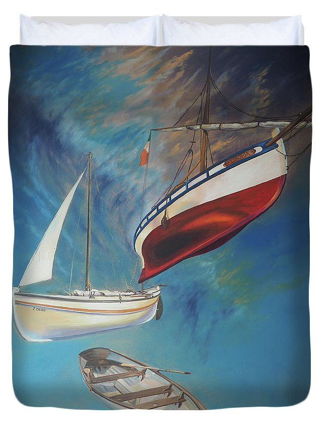 Flying Boats Duvet Cover featuring the painting Flying Boats by David Bader