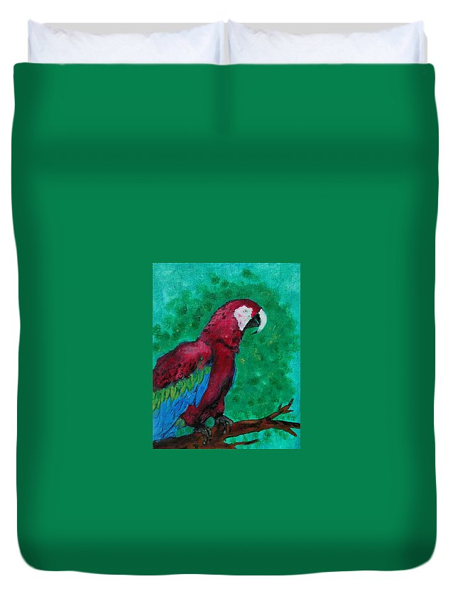 Parrot Duvet Cover featuring the painting Flying Colors by Cori Solomon