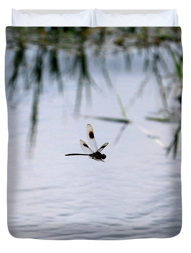 Dragonfly Duvet Cover featuring the photograph Flying Dragonfly Over Pond With Reeds by Carol Groenen