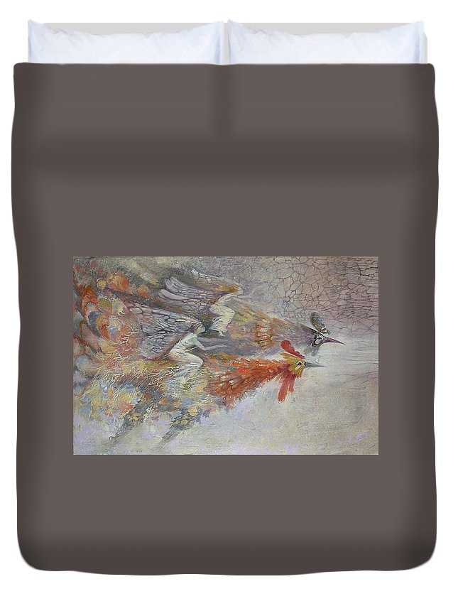 Fantasy Art Duvet Cover featuring the painting Flying Fairies. Monotype by Valentina Kondrashova